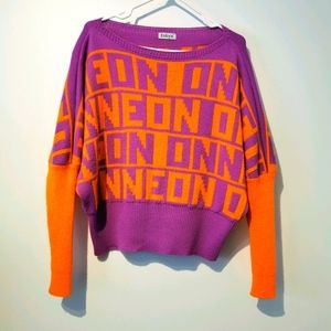 Fobya large knit dolman sweater purple & orange
